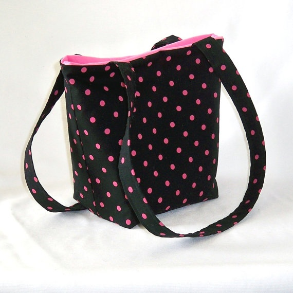 Polka Dot Purse Tote Bag Handbag Black Pink by ColleensDesigns