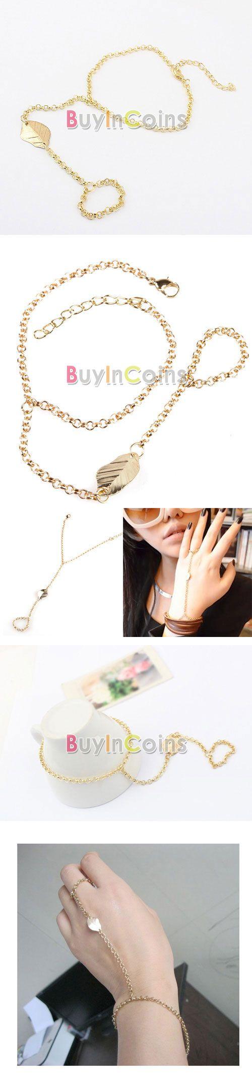 Модное ретро классическое крутое панк кольцо-браслет Лист -- BuyinCoins.com