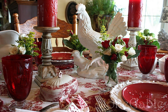 SWOON. Red. Transferware. Roosters. Antique wood. Ruby glassware. THIS is totally my style!