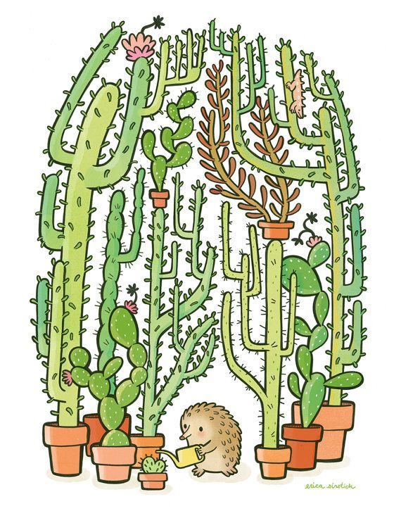 Quilliam's Cactuses Archival Print by cuddlefishpress on Etsy, $18.00