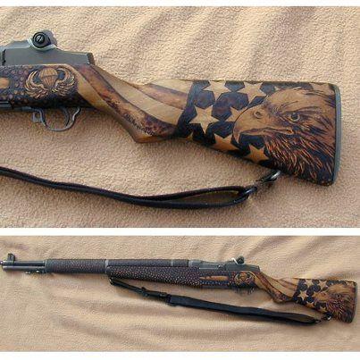 Beautiful stock work on an M1 Garand.
