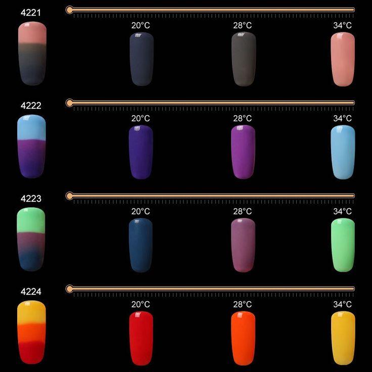 3 Colors Temperature Changing Nail Gel Polish Soak Off Nails Lacquer UV LED Lamp Long Lasting