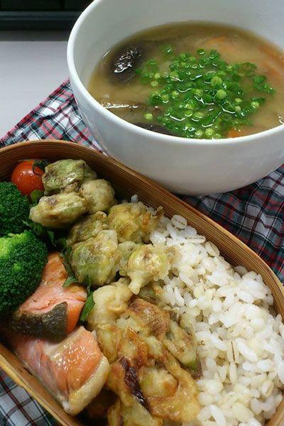 2015.02.09 ふきのとうの天ぷらと具たくさんお味噌汁弁当