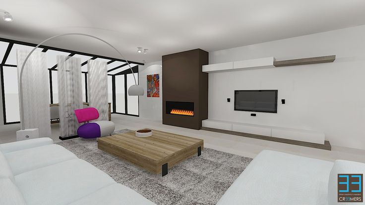 Modern tv wall with gas fire. Renovation concept for ...