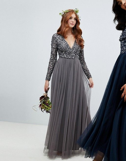 924487c09 Gorgeous sequin sleeve bridesmaid tulle maxi, perfect for a winter wedding