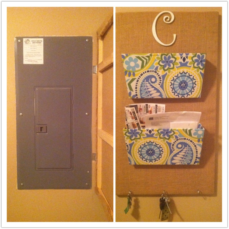 Breaker box cover and mail bin. Frame made with 1x1s and covered with burlap. Wall mounted bin covered in fabric using Elmer's spray adhesive. Screw in hooks to hold keys. Attached to wall with hinges for easy access to box. Magnets attached to hold it against breaker box.