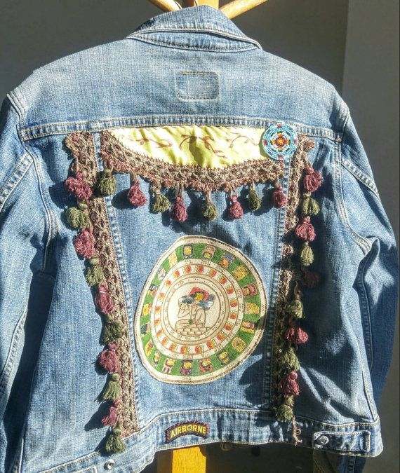 Levis Jacket Upcycled Embellished with Leather Mayan Calendar Bohemian Gypsy  Boho Cowgirl Romantic Prairie Chic Women's Denim Jean Jacket