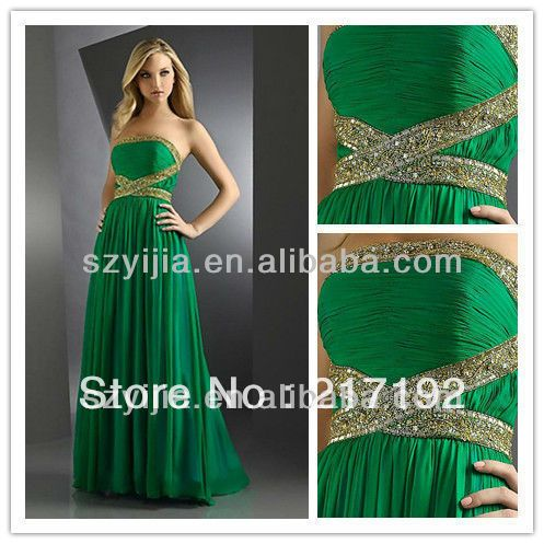 Emerald Green Prom Dresses | Stapless Heavy Beaded Emerald Green Prom. If I ever go...