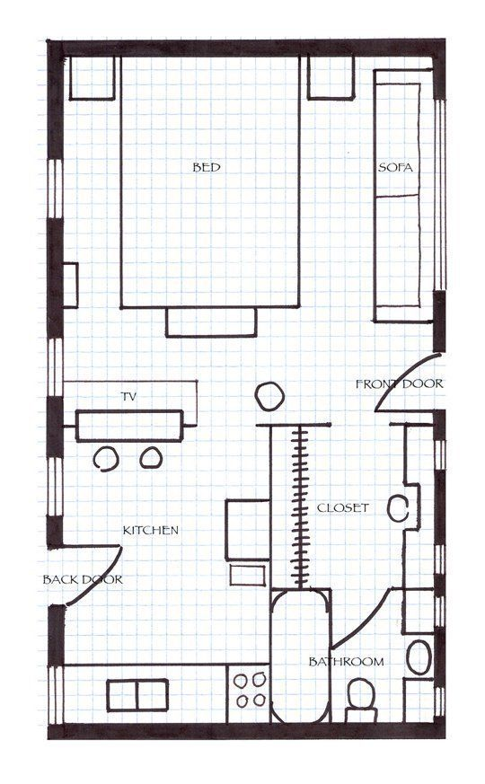 Small space lessons floorplan solutions from christopher 39 s colorful and modern apartment - Solutions for small spaces plan ...