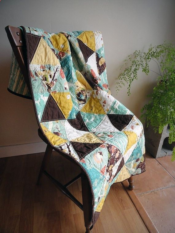 ORGANIC Baby Boy Crib Quilt Modern Triangle by TheDancingQuilt .