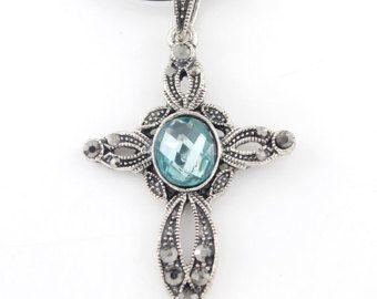 Довольно старинное серебро-синий тон Хрустальный крест ожерелье