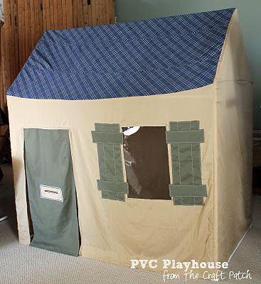 My grandkids have been wanting a playhouse outdoors. I can see doing this PVC house and making the sides with paint tarps.