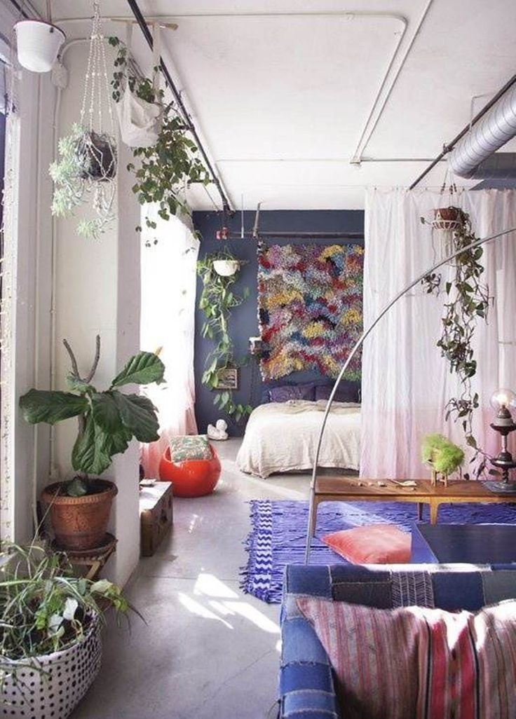 Hanging plants in our modern apartment to give it an for Earthy apartment decor
