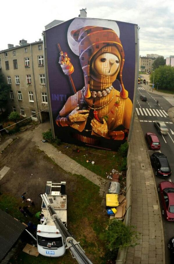 """INTI """"Holy Warrior"""" New Mural In Lodz, Poland."""