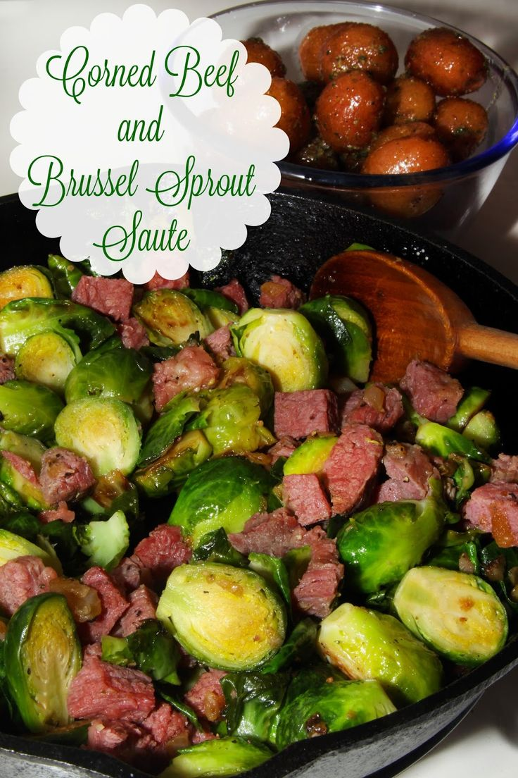 St Patty's Corned Beef and Brussels Sprout Saute - a delicious take on the traditional corned beef and cabbage.