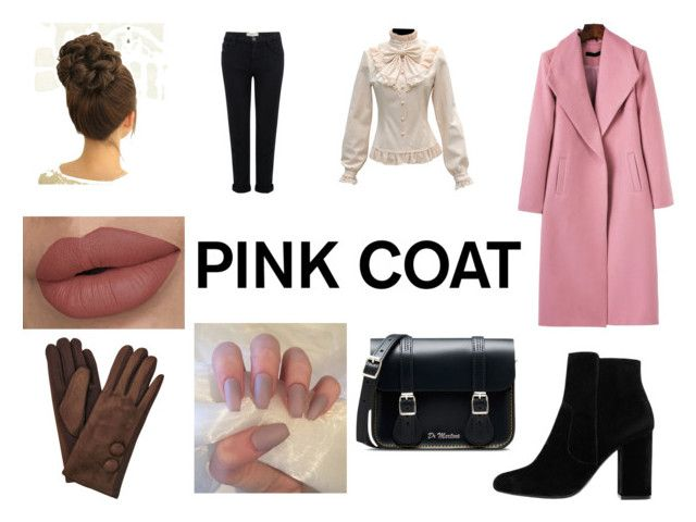 """""""Pink Coats"""" by gothicvamperstein on Polyvore featuring WithChic, Current/Elliott, MANGO, Dr. Martens and pinkcoats"""