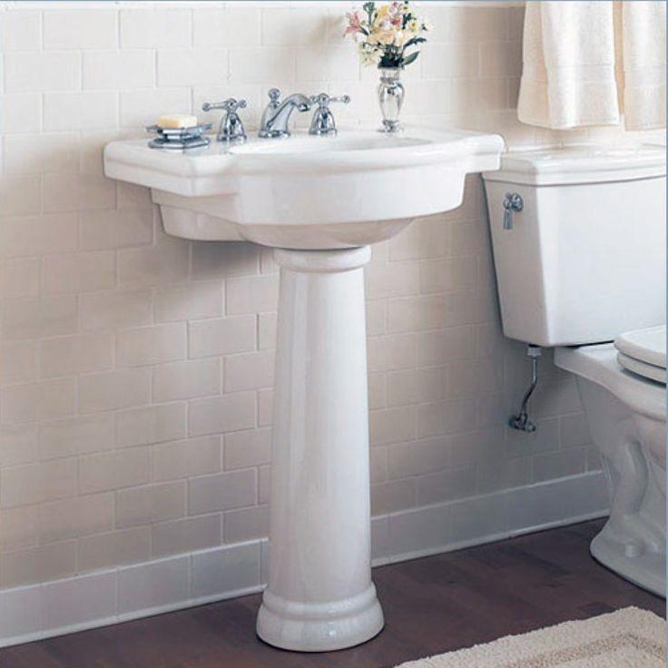 pedestal sink or vanity in small bathroom%0A American Standard Retrospect Pedestal Sink  Bathroom Sinks at Hayneedle