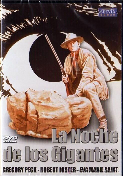 """http://mezquita.uco.es/record=b1886537~S6*spi """"La noche de los gigantes"""". Sam Varner (Gregory Peck), un explorador del ejército recién retirado, ayuda a una mujer blanca (Eva Marie Saint) y a su hijo mestizo a volver a casa, después de haber sido encontrados en un cuartel del ejército entre los prisioneros indios de un campamento apache. En su viaje, se cruzarán con Salvaje, un apache que busca venganza desatando su ira sobre los habitantes de la región."""