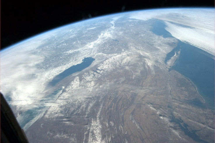 """Astronaut Tom Marshburn snapped this photo of the Northeastern United States from the International Space Station on 3-10-13. In his words: """"New England states seem to be getting some relief from the winter storms."""" #Earth  #Space  #ISS  #Geology  #Astronaut  #InternationalSpaceStation  #NASA  #Orbit  #Photography  #Science  #CrewEarthObs"""