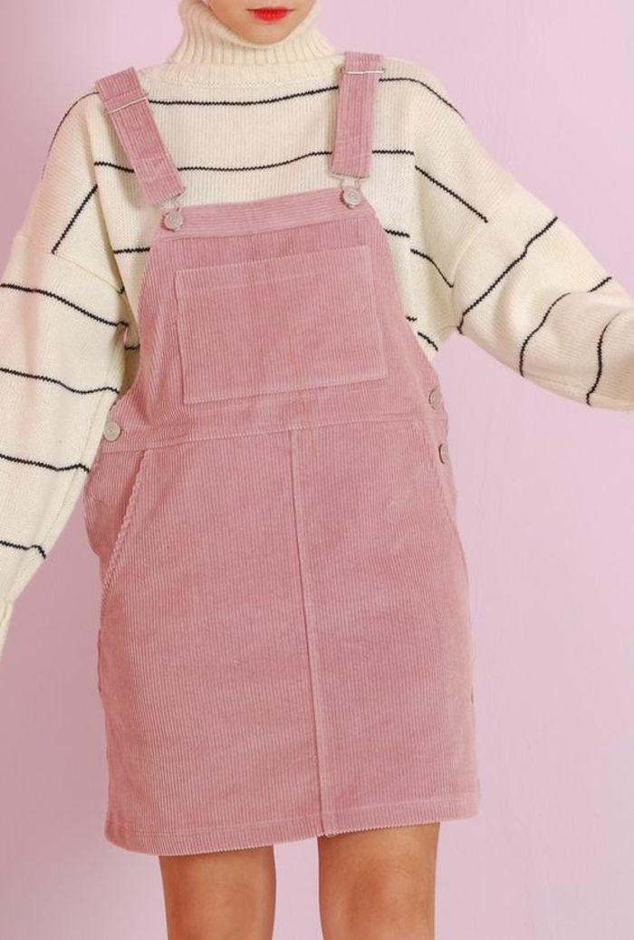 annee 80 look robe salopette rose avec pull