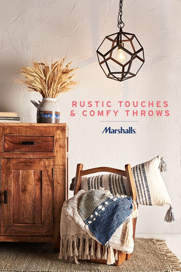 Farmhouse-inspired updates for fall! It's all about statement-making rustic décor. Try a geometric pendant to bring new light to your space. Distressed wood will add instant charm to any room. Soften it up with textured pillows and throws! Find the perfect pieces (and prices) to update your home at Marshalls.