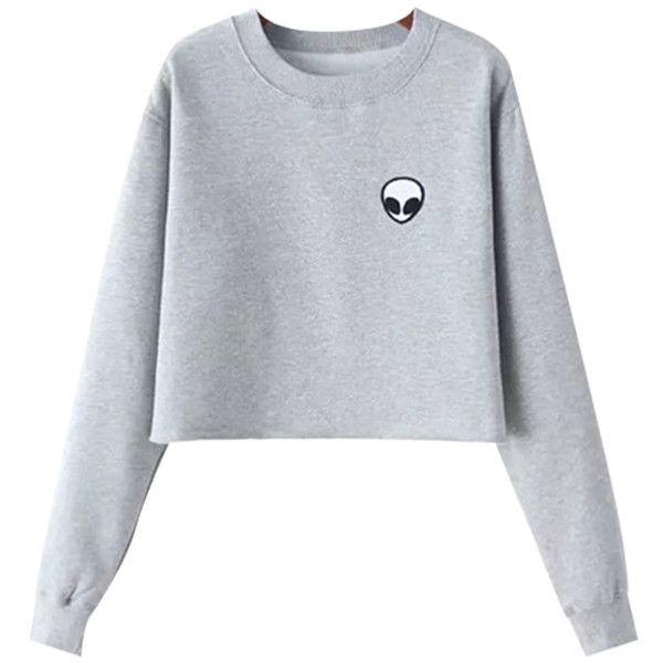 Chicnova Fashion Alien Fleece Sweatshirt ($12) ❤ liked on Polyvore featuring tops, hoodies, sweatshirts, print sweatshirt, fleece crewneck sweatshirt, drop shoulder tops, patterned sweatshirt and crew sweatshirt