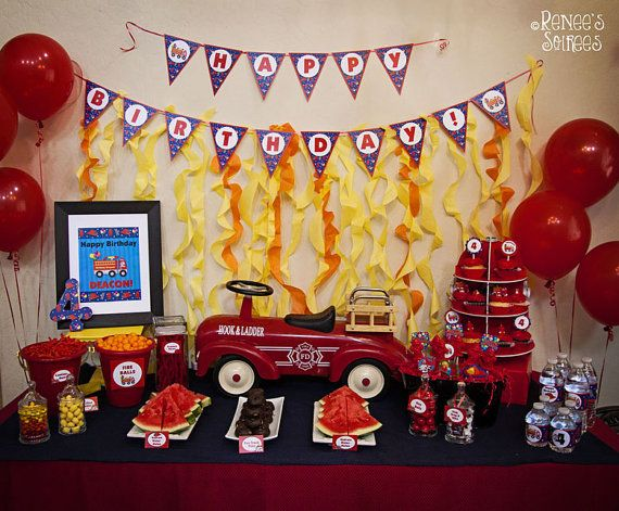 RED FOODS:  watermelon, licorice:  --  Tomatoes & Mozzarella -- FIRE TRUCK Collection for Birthday Party or Baby by ReneesSoirees