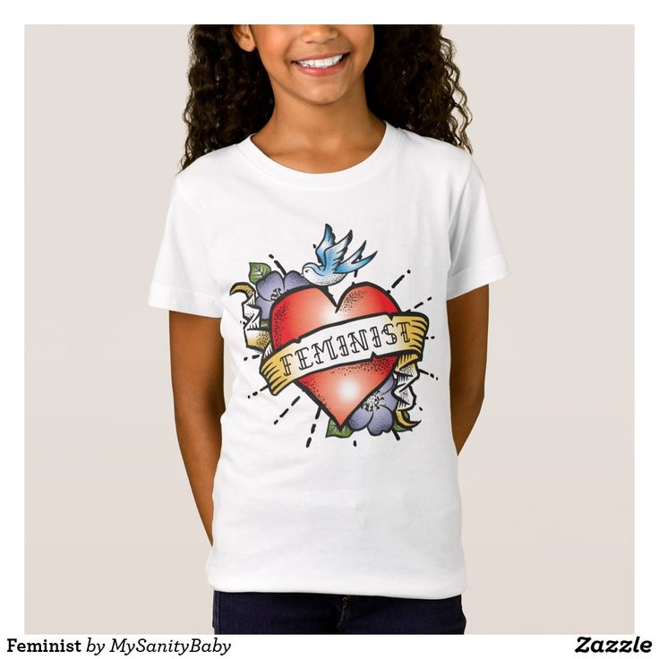 Feminist Baby tee - This beautiful tee features a realistic tattoo heart with a vintage style banner and the word Feminist.