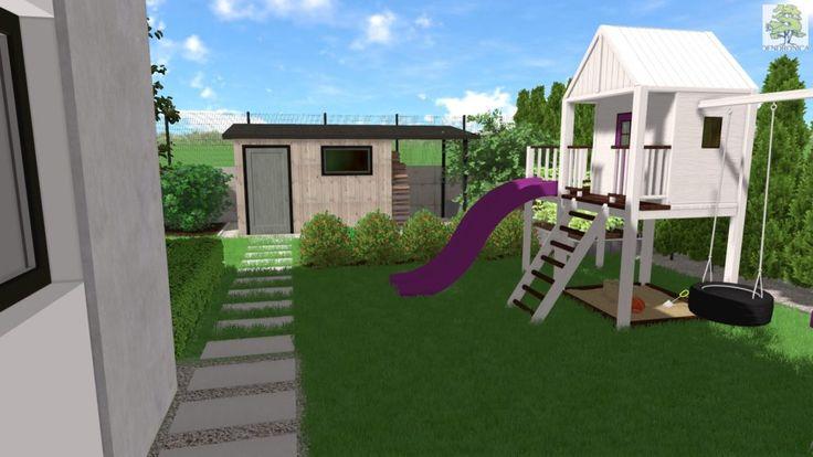 Mały nowoczesny ogród w Dyminach ( Kielce ). Ogród oprócz miejsc wypoczynkowych posiada wydzielony ogród warzywno-owocowy i miejsce zabaw dla dzieci.