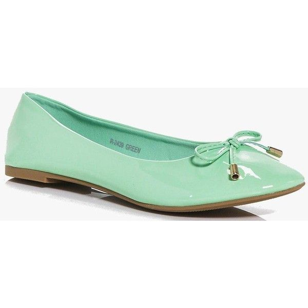 Boohoo Megan Bow Trim Ballet Shoes ($12) ❤ liked on Polyvore featuring shoes, green, flat pumps, flatform shoes, green flats, green ballet flats and ballet shoes
