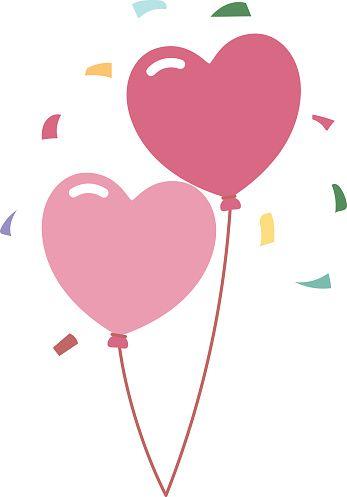 Balões de festa de casamento romântico decoração Ilustração vetorial - ilustração de arte em vetor