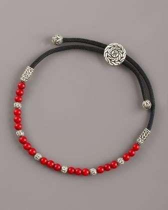 I bracciali da uomo più belli - Bracciale da uomo in pelle con perle rosse