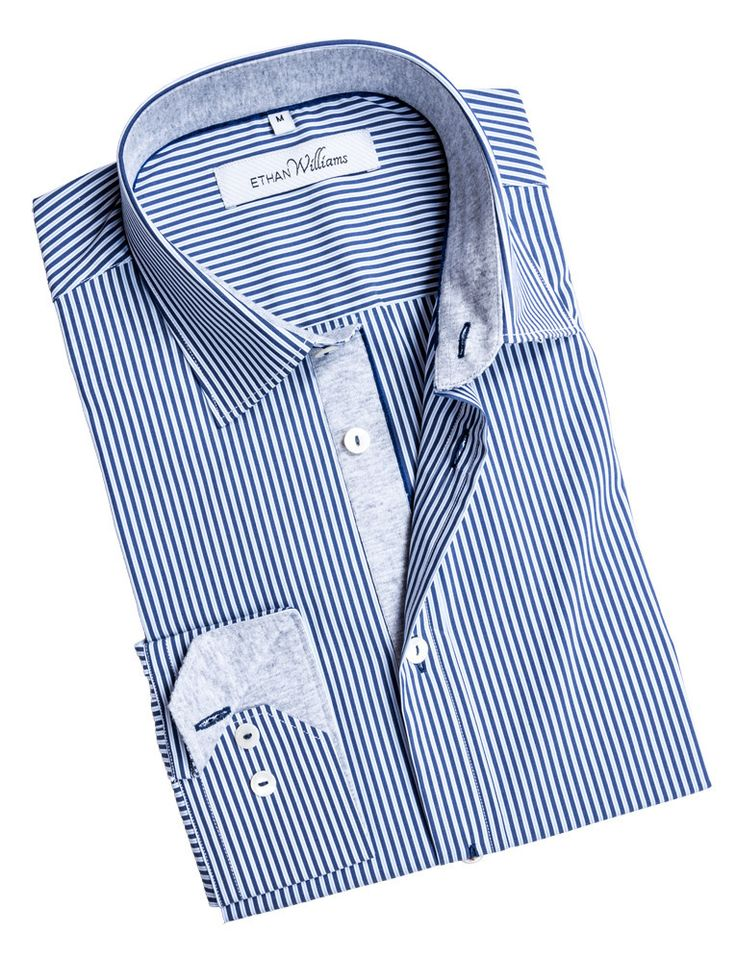 Ethan Williams Navy and White dress shirt with heather grey liner - Charline