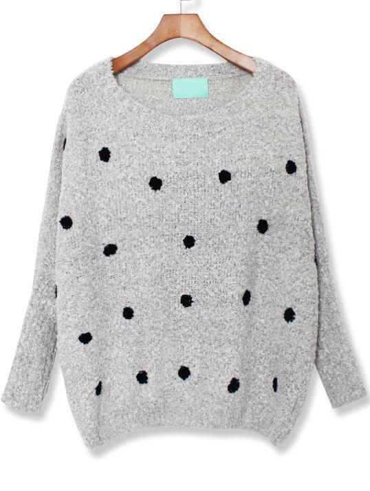 Grey Long Sleeve Polka Dot Loose Sweater US$30.33