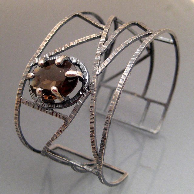 Cuff | Sara Westermak. 'Mother's Web'  Sterling silver and Topaz