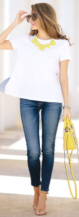 Striped Ruffle Tee... I love the pop of yellow with the white and denim. So fun for a summer look!
