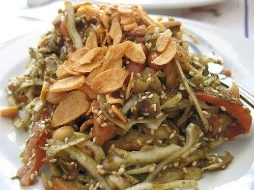 Laphet thohk - pickled tea leaf salad, Myanmar
