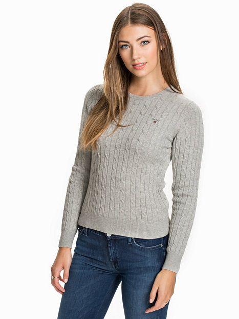Stretch Cotton Cable - Gant - Light Grey Melange - Tröjor - Kläder - Kvinna - Nelly.com