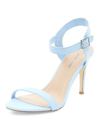 Pale Blue Textured Ankle Strap Heels | New Look