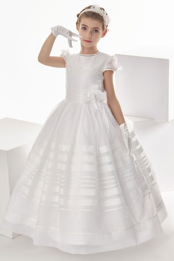Ball Gown Stripped Organza Floor Length Communion Dress With Bow(S)