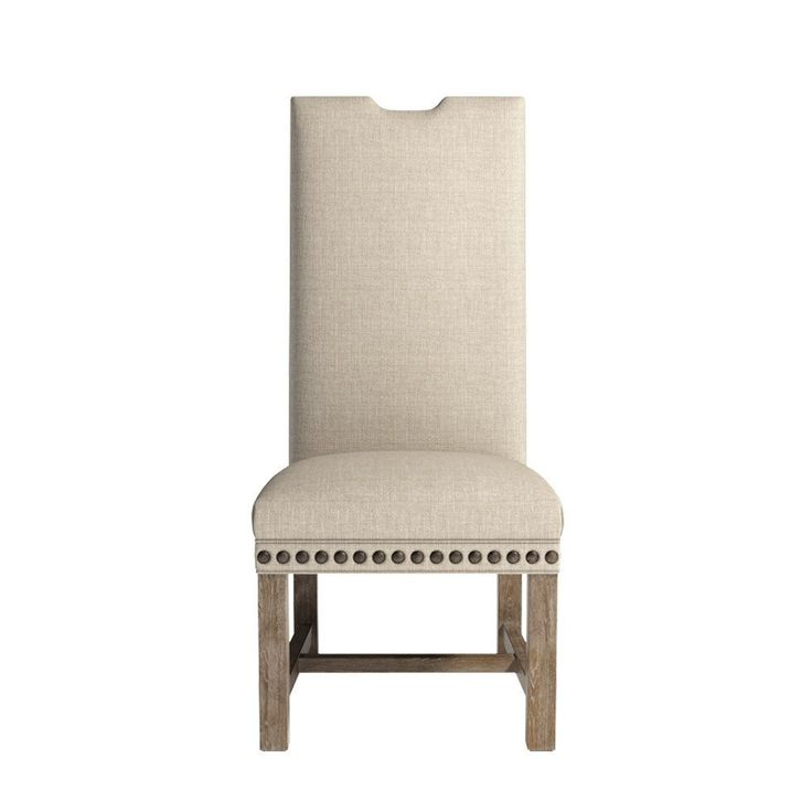 Lompret Linen Dining Chair - Notched Top, Extra Large Nailheads, Tall Back