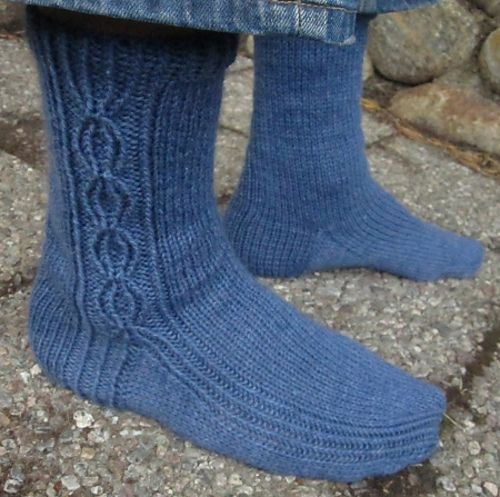 Urho continues the series of basic, unisex sock patterns designed for worsted weight yarn.