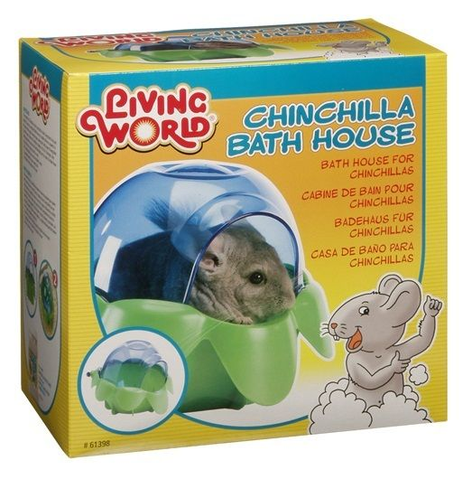 Living World Chinchilla Bath House has a unique spherical bottom design that allows complete contact and helps prevent messy baths by keeping the sand inside the bath house.