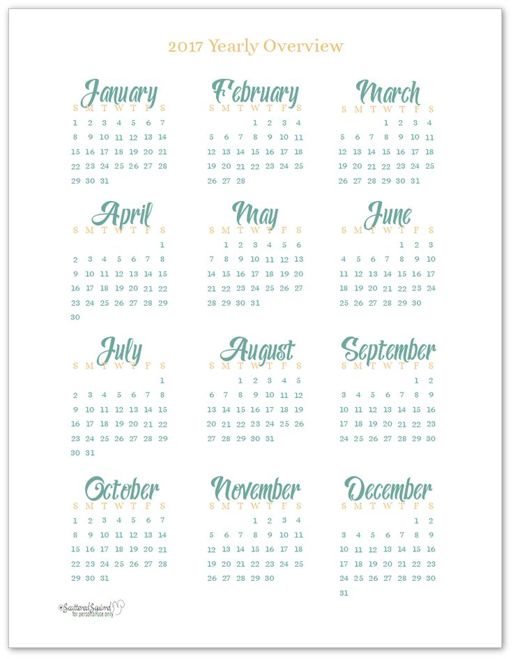 Best 20+ 2017 Yearly Calendar Ideas On Pinterest | Yearly Calendar