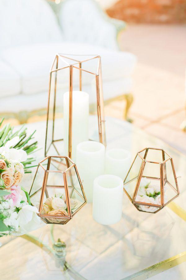 geometric wedding decor - photo by Milou and Olin http://ruffledblog.com/romantic-blush-winery-wedding