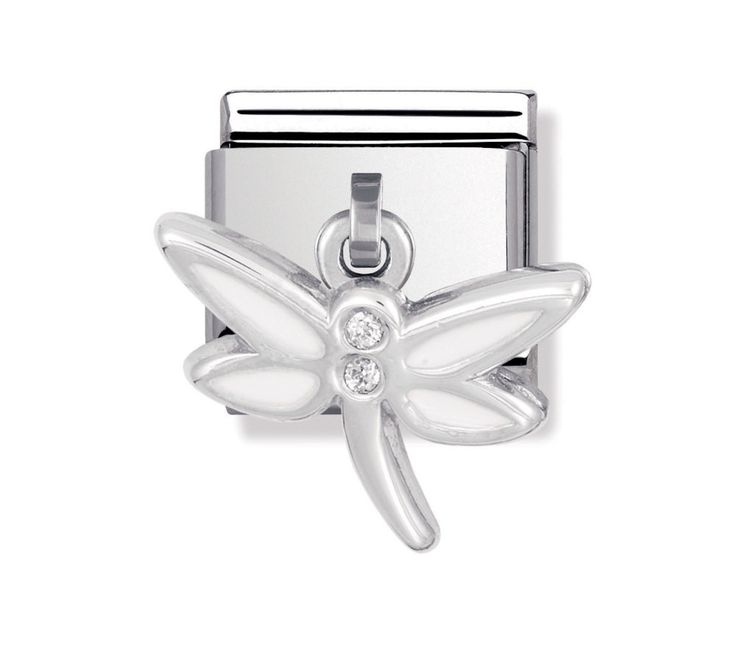 Nomination Stainless Steel, Silver, Cubic Zirconia and Enamel Dragonfly Charm 031712/05