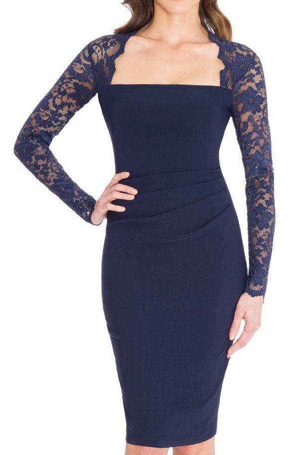 Vestido combinado encaje fruncido lateral azul marino -mayorista de moda mujer-mayorista de ropa mujer-ropas mujer al por mayor-ropa hecha en Europa-vestido fiesta al por mayor-vestido ceremonia al por mayor