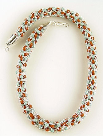 French Knitting Necklace with Woven Beads