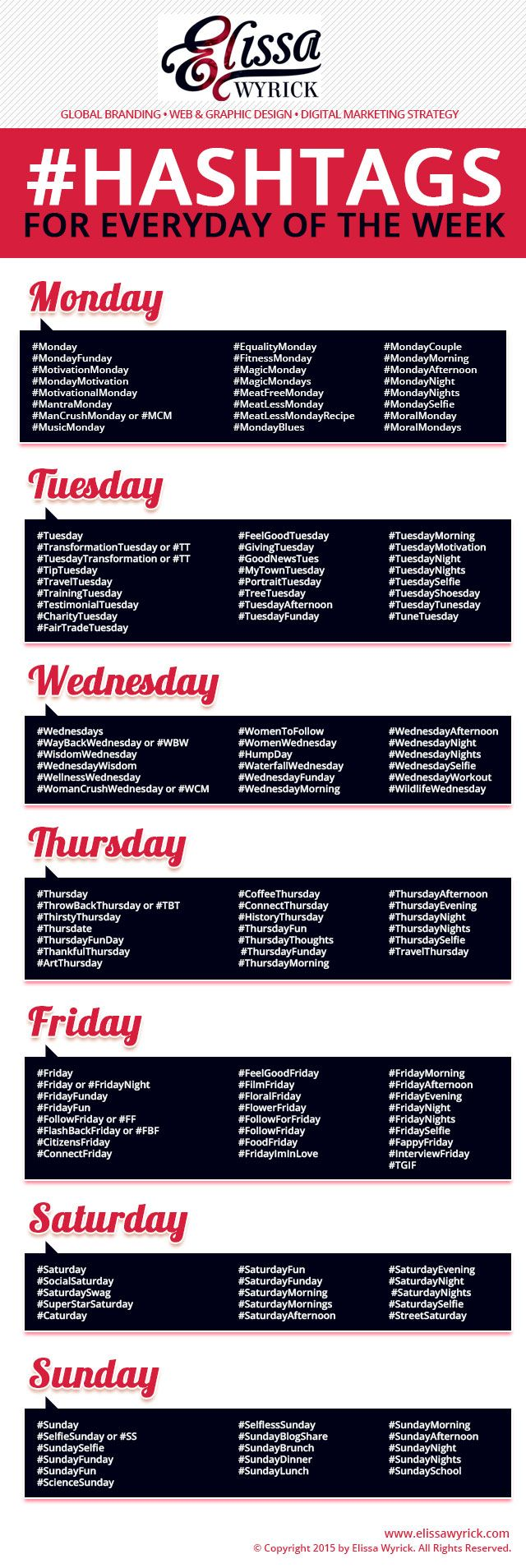 Weekday Hashtag Cheat Sheet                                                                                                                                                                                 More