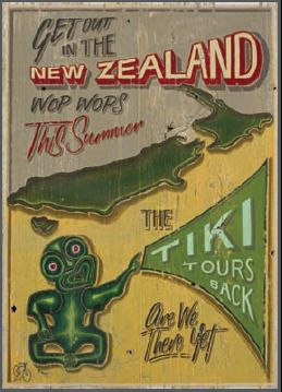 """NZ Tiki Tour"" Kiwiana art print by Jason Kelly for Sale - New Zealand Art Prints"